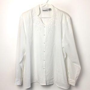 Fashion Bug White Button Down Blouse